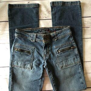 ANERICAN EAGLE zip pocket boot cut JEANS sz 0